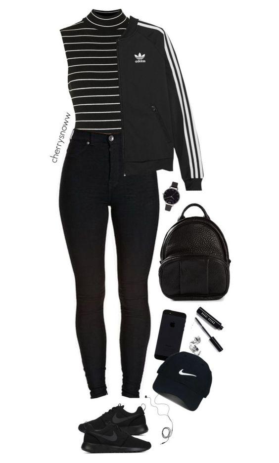 """Black sporty chic outfit"" by cherrysnoww ❤ liked on Polyvore featuring Topshop, Diane Von Furstenberg, NIKE, adidas Originals, Alexander Wang, Olivia Burton, Bobbi Brown Cosmetics and Nike Golf"