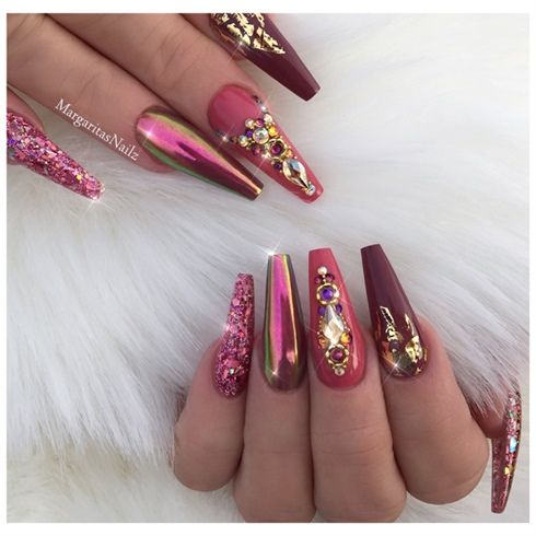 Chrome And Gold Coffin Nails By Margaritasnailz Maroon Nails Bling Nails Chrome Nail Art