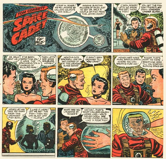 TOM CORBETT was the only one of the early 1950s live space adventure series that had a daily (7 days per week) newspaper strip.  It looked as if it were drawn by legendary artist Milton Caniff, but it was actually drawn by one of his assistants, Ray Bailey.  Bailey did not get a likeness of ANY of the actors portraying the characters on TV.