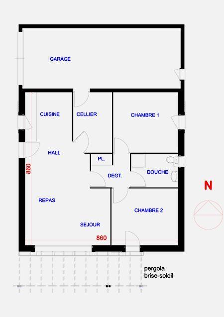 plan maison carr bioclimatique maison de plain pied pinterest construction. Black Bedroom Furniture Sets. Home Design Ideas