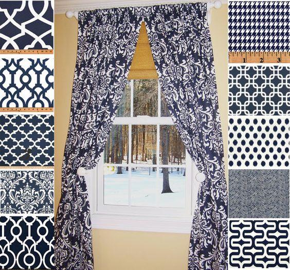 blue curtains navy damask curtains lattice curtains