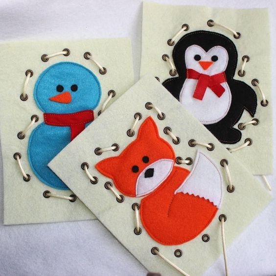 Carte à lacer Petit pingouin.  Jouet de laçage pour développer la motricité fine de lenfant et améliorer concentration et coordination.  Cette carte