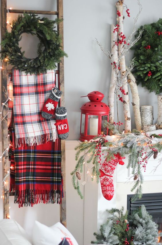 Red and Green Mantle Decor - CountryLiving.com: