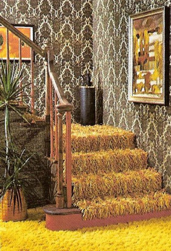 70s interior extensive repeat pattern design on wallpaper and iconic shag pile carpet carpet pattern background home