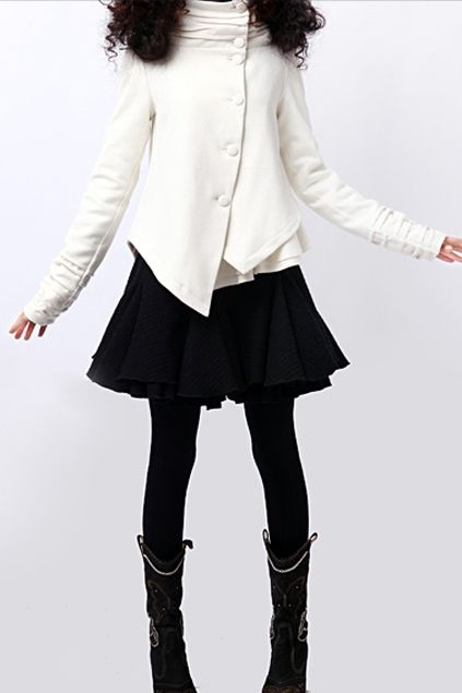 This coat crafted in wool and viscose, featuring asymmetric buttons through front, long sleeves with wrinkled cuff, irregular hemline, hood design, in medium length cut.$130