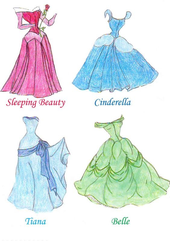 dresses drawings | Disney princess dresses one by ...