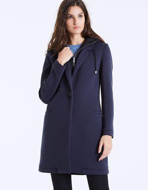 Manteau drap de laine à capuche femme IKKS | Mode Automne