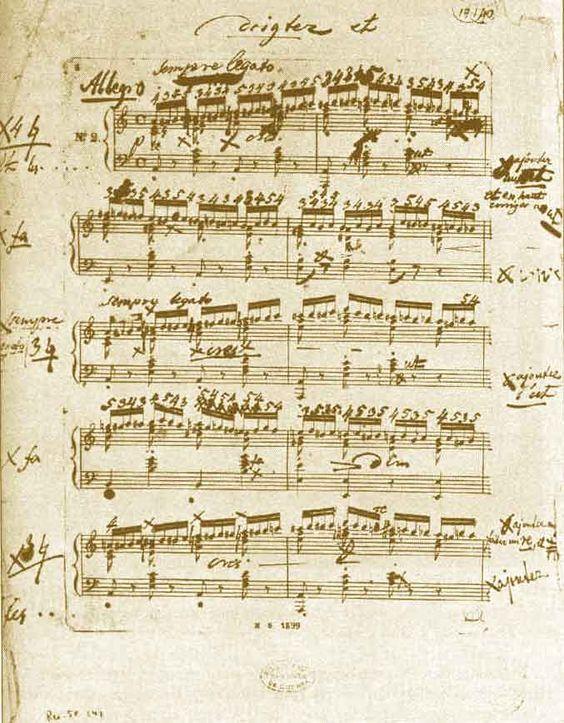 Études op.10, no2, partition avec le doigté annoté par Chopin.