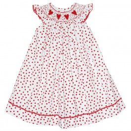 Red Hearts Smocked Angel Wing Bishop - $43.90