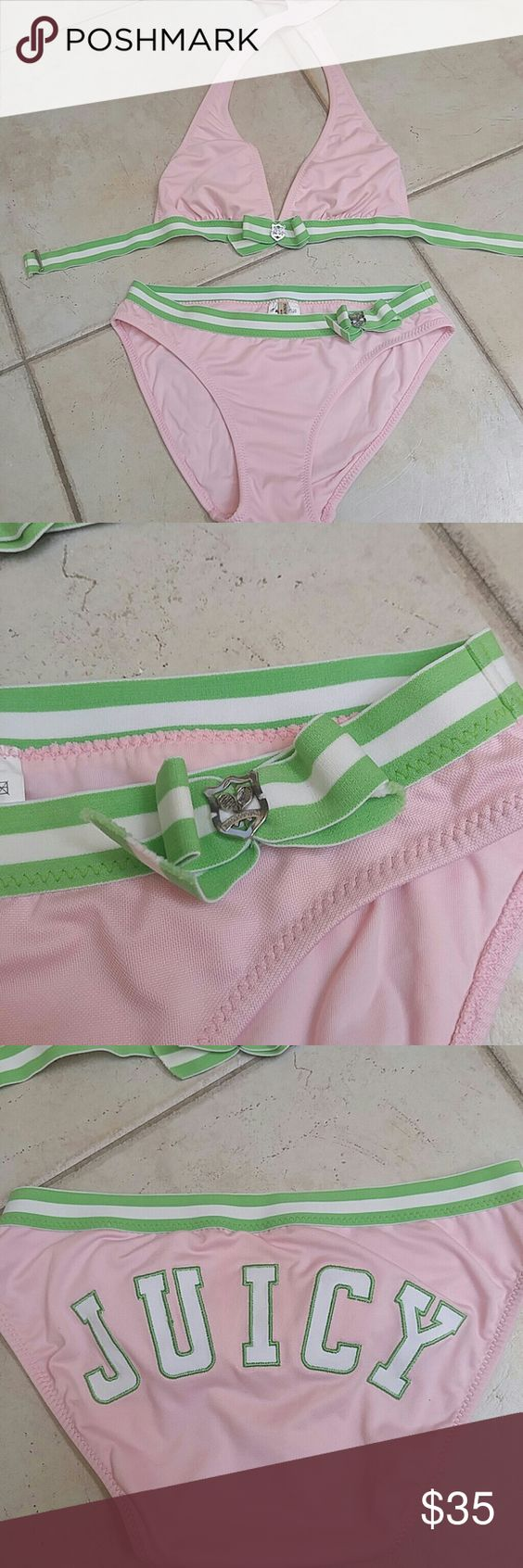 """JUICY COUTURE BIKINI Adorable Juicy Couture Bikini. Size medium. The top ties in the back by the neck and has a clasp around the back to close. bottom slips right on. Light Pink with green and white stripe detail. The front of the bikini top and bikini bottom have """"juicy Couture"""" tennis racket charm. The bikini bottom says """"JUICY"""" on the back. Excellent condition! Made of 89% Polyester and 11% Spandex.I PROVIDE 10% off if you BUNDLE 3 ITEMS and you only pay ONE SHIPPING PRICE! Juicy Couture…"""