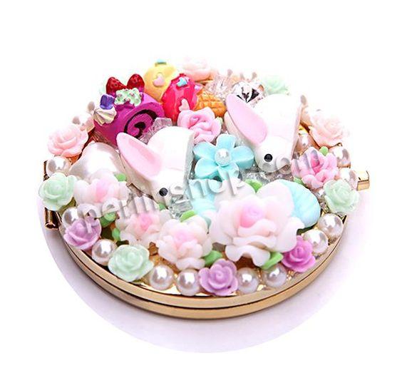 Eisen Kosmetikspiegel, mit Polymer Ton & Glas & Harz, flache Runde, goldfarben plattiert, mit Blumenmuster & mit Kunststoff-Perlen & mit Str...