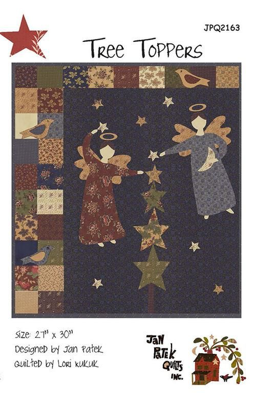 New Pieced and Applique Quilt Pattern ANGEL TREE TOPPERS 27x30
