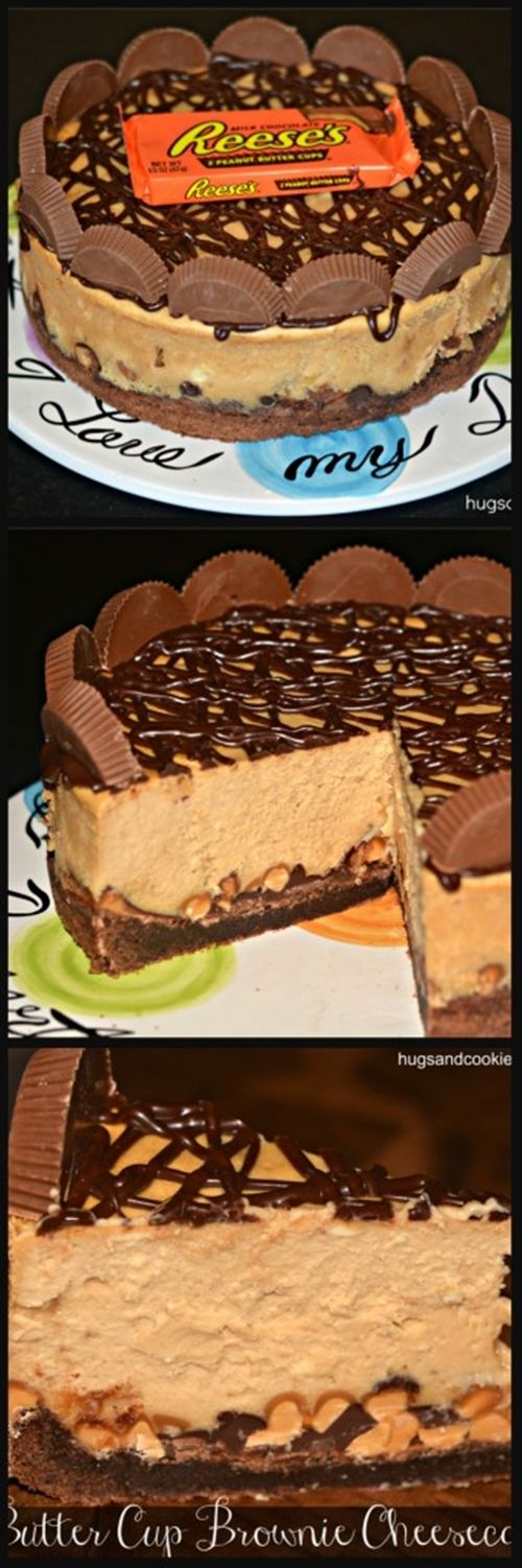 Reese's Peanut Butter Cup Cheesecake On A Brownie Crust: