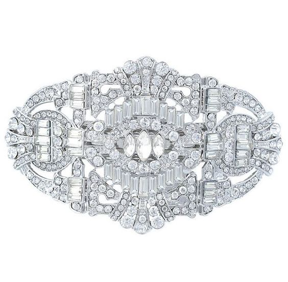 Barrette mariage cristal Swarovski style Gasby art deco