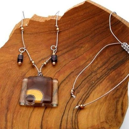 Celestial Stacked Glass Rectangle on Square Necklace - Tili Glass