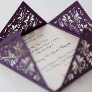 Floral Purple Square Laser Cut Wedding Invitation