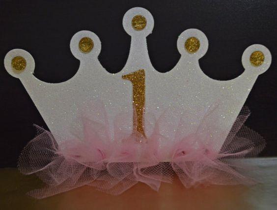 5 PRINCESS CROWN INVITATIONS 1st Birthday by NowAndForeverDesigns