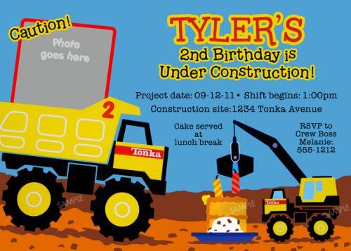 Tonka Truck Birthday Party Invitation Printable Digital File – Truck Birthday Party Invitations