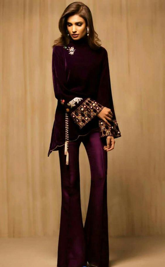 Purple Short Shirt wedding Pakistani dress