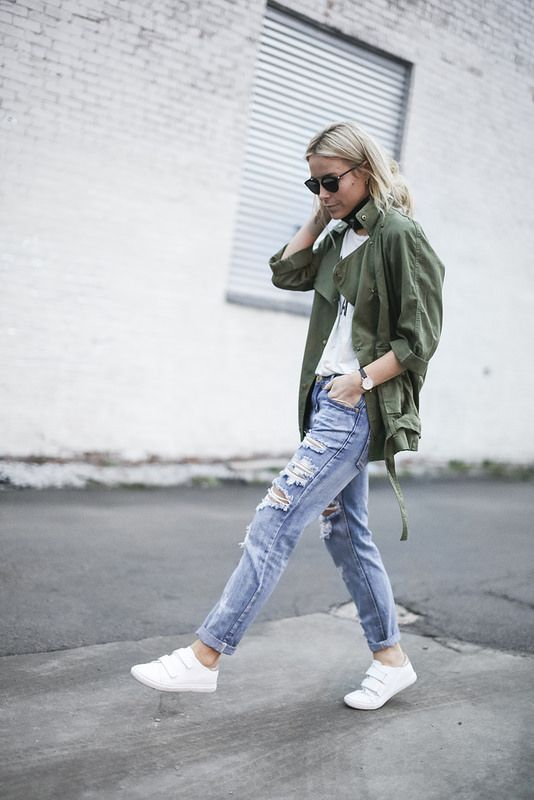 army style jacket denim white sneakers casual street style fashion