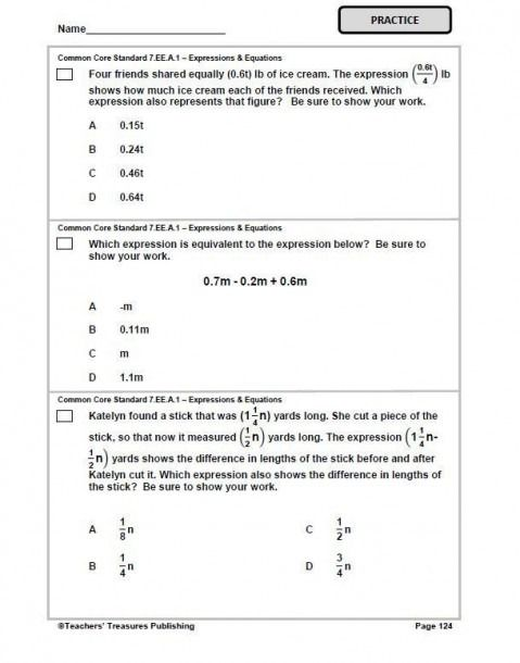 7th Grade Math Test Worksheets Di 2020