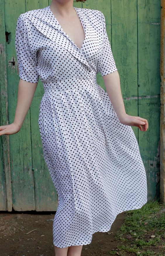 Vintage White Dress with Black Polka Dots Size by TinCupVintage, £35.00