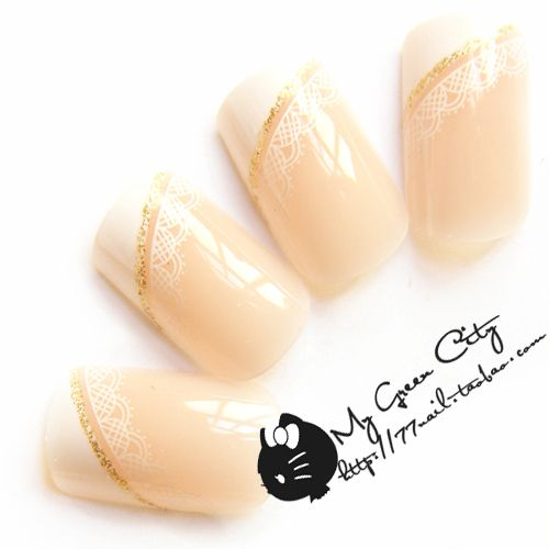 NEW 2014 High Quality lace french acrylic full cover False Nails,24 pcs with glue,Free Shipping