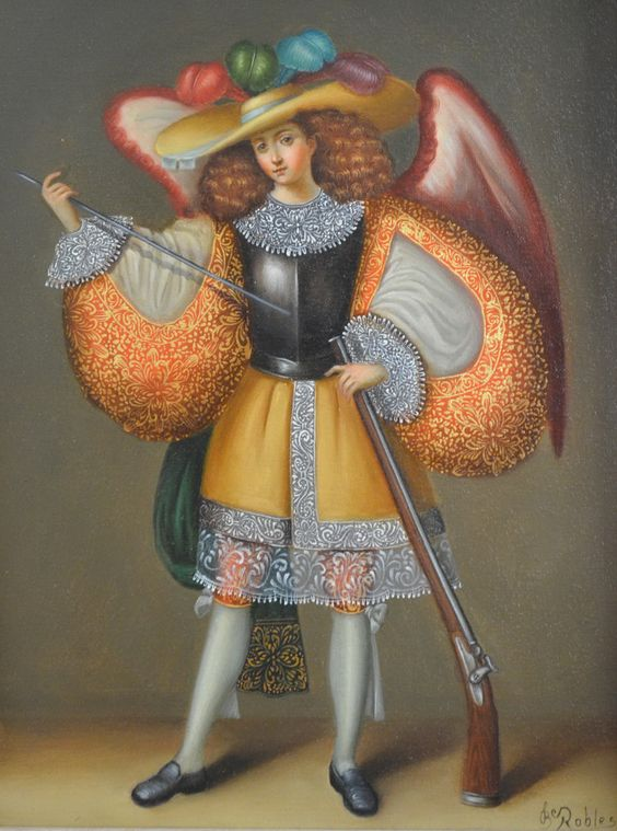 archangel  oil painting on canvas cuzco  artist Jose Robles. The style of this painting is old school Spanish colonial art.