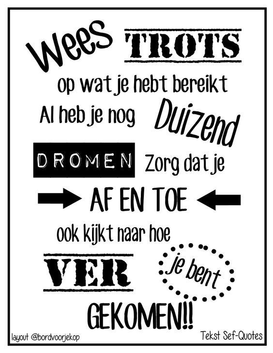 Wees trots op jezelf! http//www,facebook.nl/bordvoorjekop