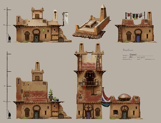Desert buildings picture 2d fantasy architecture for 2d building drawing
