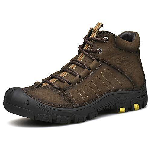 Dzx Mens Winter Outdoor Hiking Shoeswarm High Waist Antiskiing Bootsfur Lined Walking Boots For Campingtrekking And Skidarkbrown Boots Walking Boots Men Winter