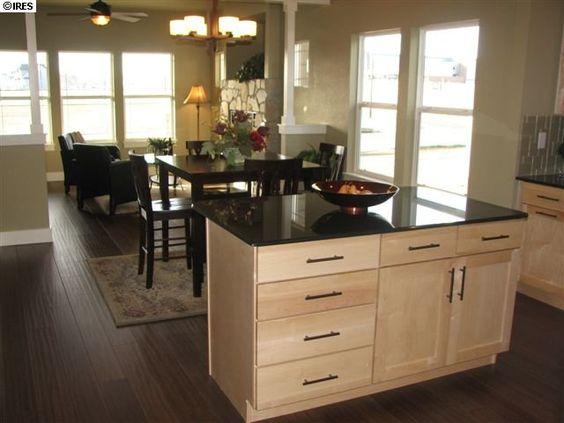 Open concept dark wood floors maple cabinets ideas