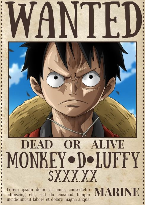 Template Wanted Poster One Piece One Piece Wanted Poster Wanted Poster One Piece Wanted Anime wallpaper one piece wanted