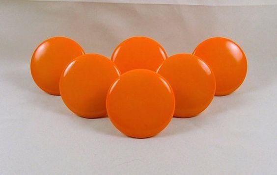 Vintage Ceramic Dresser Cabinet Knobs Handles Bright by KatsCache, $16.00: Vintage Ceramic, 16 00, Knobs Handles, Bright Orange, Handles Bright, Cabinet Knobs
