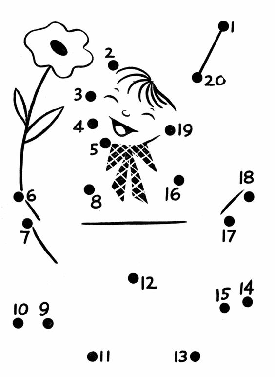 Number Names Worksheets dot to dot 1-20 : Coloring, The dot and Activities on Pinterest