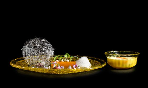 Clementine and Chamomile | Toasted chamomile strands, clementine and Campari, cacao soil, Reposado tequila, pastis, thyme, almond, and coriander by Frankie Solarik of BarChef Toronto. © Leanne Neufeld - See more at: http://theartofplating.com/editorial/barchef-toronto/#sthash.2kuipkEh.dpuf