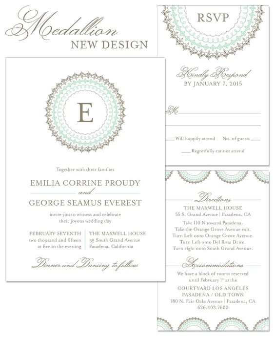 Medallion Wedding Invitation in Mint and Umber | by The Green Kangaroo, Inc.