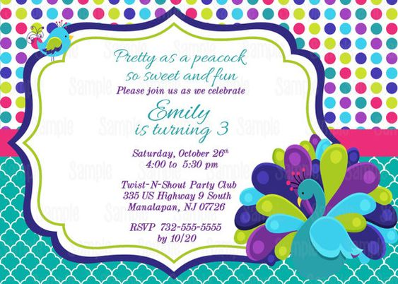 Pretty Peacock Printable Birthday Party by PartyInnovations09, $10.00