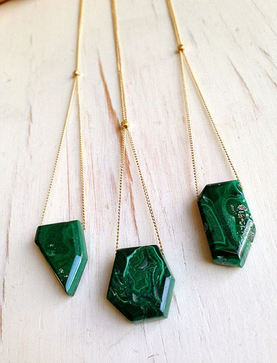 Malachite Necklace Malachite Jewelry Gemstone by RobinWoodard: