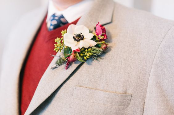 Burgundy winter anemone boutonniere. Matt + Ryan // Married