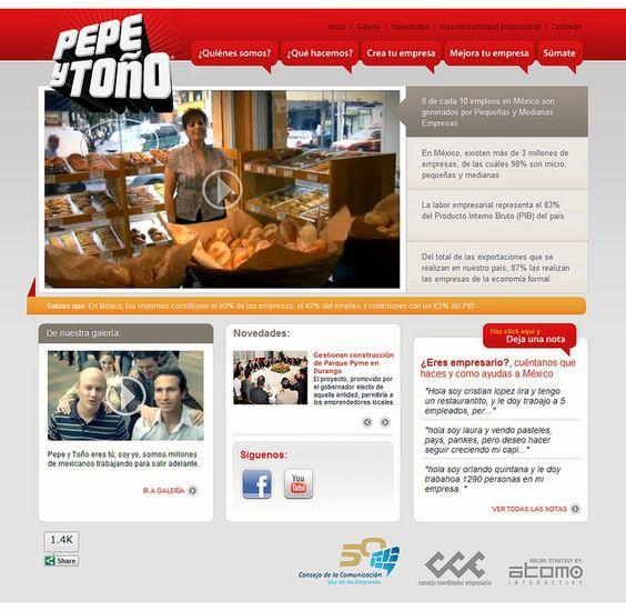 """Propuesta de diseño para el portal """"Pepe y Toño"""" del Consejo de la Comuniación.  Más información en: http://blog.atomointeractive.com/2011/09/estrategia-en-linea-de-la-campana-pepe.html"""