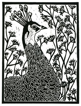 Lino Block Print Peacock by jerry