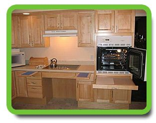 Wheel Chair Accessible Cook Top And Cabinets Pull Out Shelves Beside Cook Top