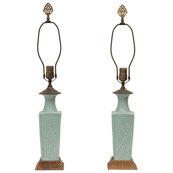 Pair of Early 20th C. Chinese Poreclain Celadon Lamps | From a unique collection of antique and modern table lamps at https://www.1stdibs.com/furniture/lighting/table-lamps/