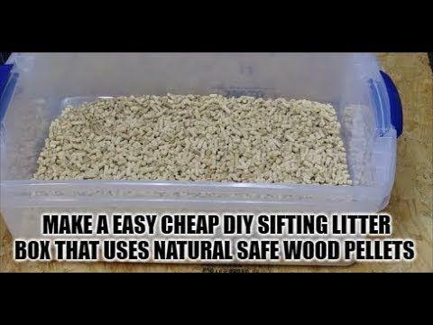 Best Diy Easy Build Sifting Litter Box Pan Using Healthy Cheap Pine Pellets Cats Kittens Animals Youtube Litter Box Rabbit Litter Box