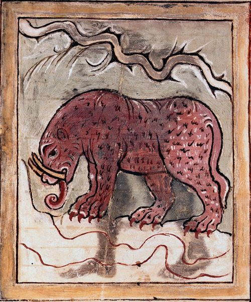 The elephant in an Anglo-Saxon illustrated miscellany (London, British Library, MS Cotton Tiberius B V, part 1, f. 81r).: