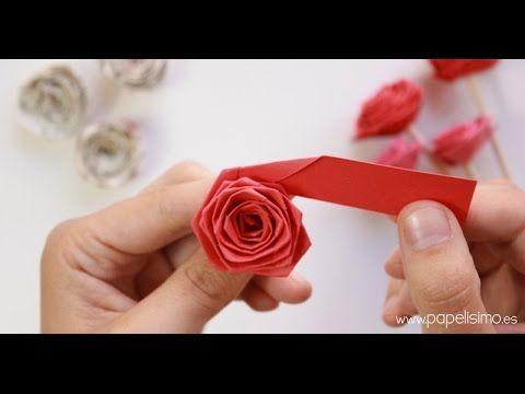C mo hacer rosas enrollando una tira de papel quilling - Youtube manualidades de papel ...