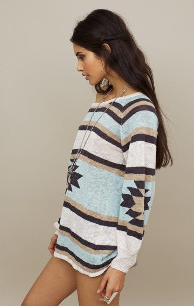 Loved the oversized sweater with western print... so perfect to pair with pixie pants and boots