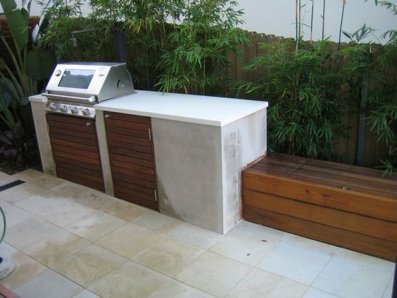 Like The Minimal Concrete Bench Exterior Bbq 39 S Fire