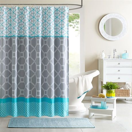 Add a bright and modern look to your space with the Intelligent Design Clara Shower Curtain. Made from polyester microfiber, the bright aqua color and geometric design bring your space to life.